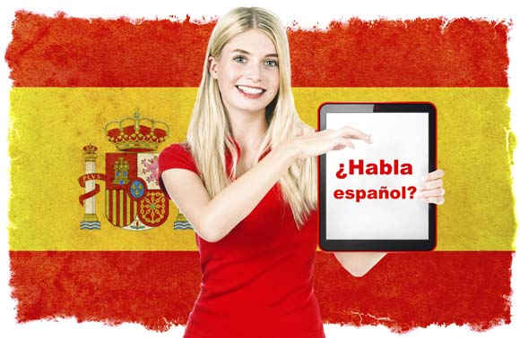 Young woman holding tablet pc. National flag of Spain at the background. Spanish language learning concept. Collage. Clip-Art