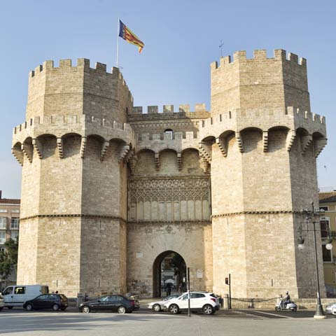 Valencia, Spain - June 29, 2015: Serrano Towers, one of the twelve gates that were found along the old medieval city wall in Valencia, Spain.